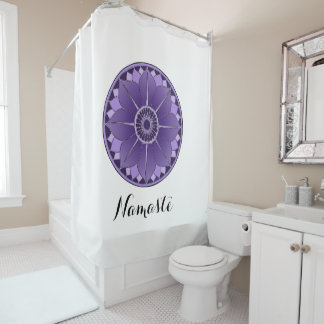 NAMASTE Purple Lotus Mandala New Age Personalized Shower Curtain