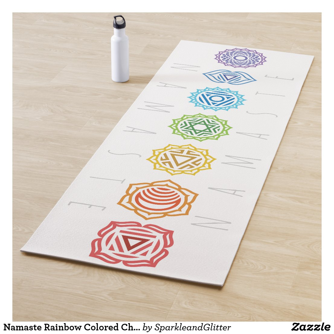 Namaste Rainbow Colored Chakras Yoga Mat