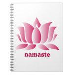 namaste rosado del loto de la yoga libretas
