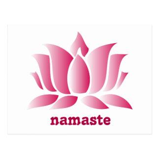 namaste rosado del loto de la yoga tarjetas postales