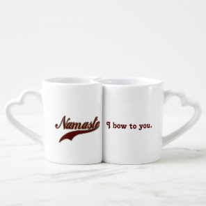 Namaste Stylish Red Burgundy I bow to you Coffee Mug Set