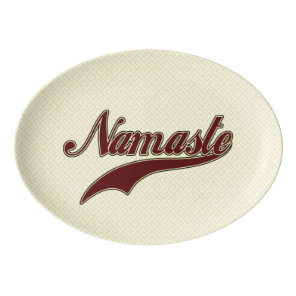 Namaste Stylish Red Burgundy Porcelain Serving Platter