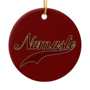 Namaste Stylish Red Burgundy square spiral pattern Ceramic Ornament