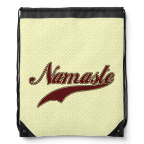 Namaste Stylish Red Burgundy square spiral pattern Drawstring Backpack