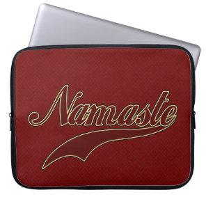 Namaste Stylish Red Burgundy square spiral pattern Laptop Sleeve