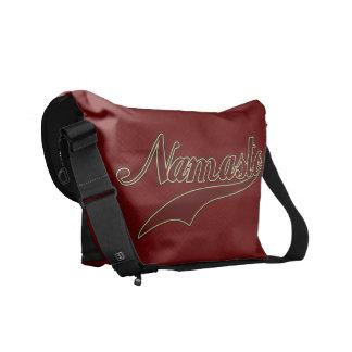 Namaste Stylish Red Burgundy square spiral pattern Courier Bag
