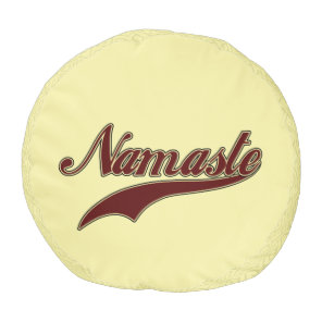 Namaste Stylish Red Burgundy square spiral pattern Pouf