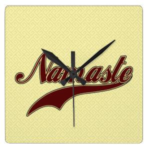 Namaste Stylish Red Burgundy Square Wall Clock