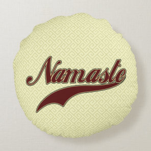 Namaste Stylish Red square spiral pattern Round Pillow