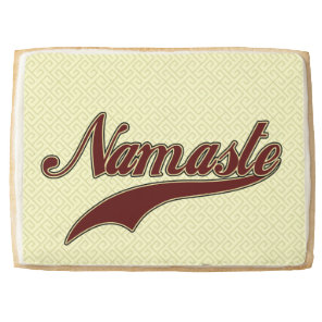 Namaste Stylish Red square spiral pattern Shortbread Cookie