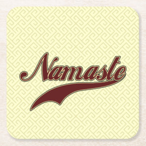 Namaste Stylish Red square spiral pattern Square Paper Coaster