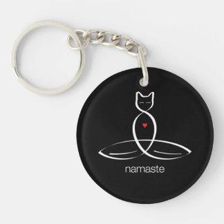 Namaste - texto regular del estilo llavero redondo acrílico a una cara