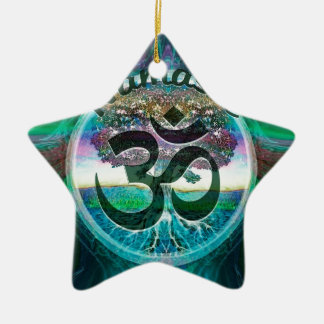 Namaste Tree of Life Double-Sided Star Ceramic Christmas Ornament
