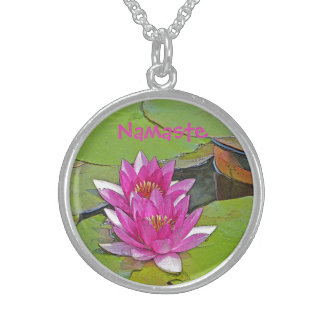 NAMASTE/TWO PINK LOTUS BLOSSOMS ON LILY PADS ROUND PENDANT NECKLACE
