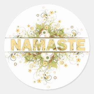Namaste Vintage Floral Classic Round Sticker