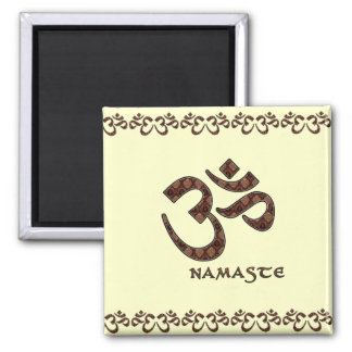 Namaste with Om Symbol Brown and Cream 2 Inch Square Magnet