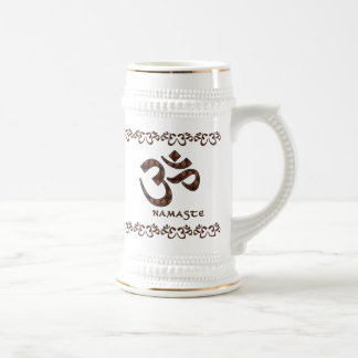 Namaste with Om Symbol Brown and Cream Beer Stein