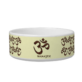 Namaste with Om Symbol Brown and Cream Bowl