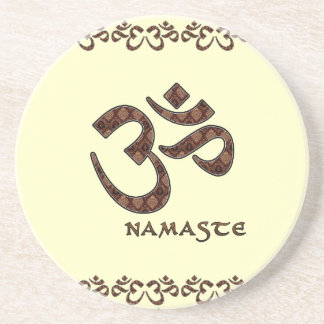 Namaste with Om Symbol Brown and Cream Coaster