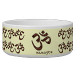 Namaste with Om Symbol Brown and Cream Dog Bowl