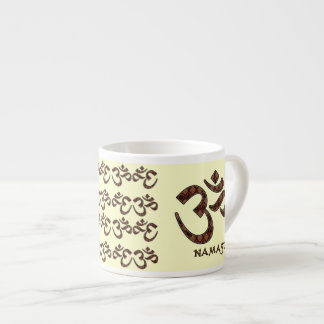 Namaste with Om Symbol Brown and Cream Espresso Cup