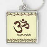 Namaste with Om Symbol Brown and Cream Silver-Colored Square Keychain
