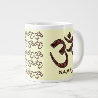 Namaste with Om Symbol Brown and Cream Large Coffee Mug