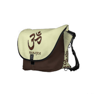 Namaste with Om Symbol Brown and Cream Messenger Bag
