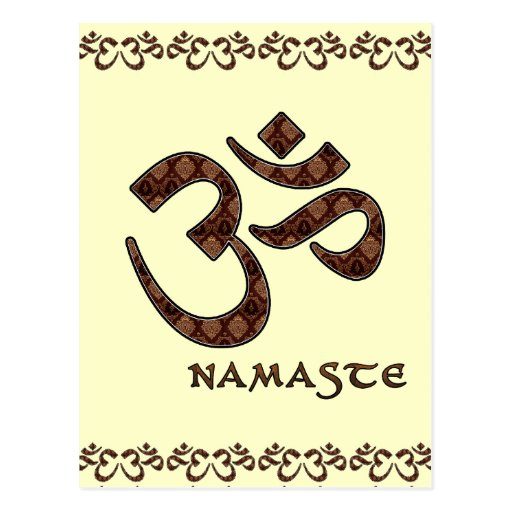 Namaste with Om Symbol Brown and Cream Post Card
