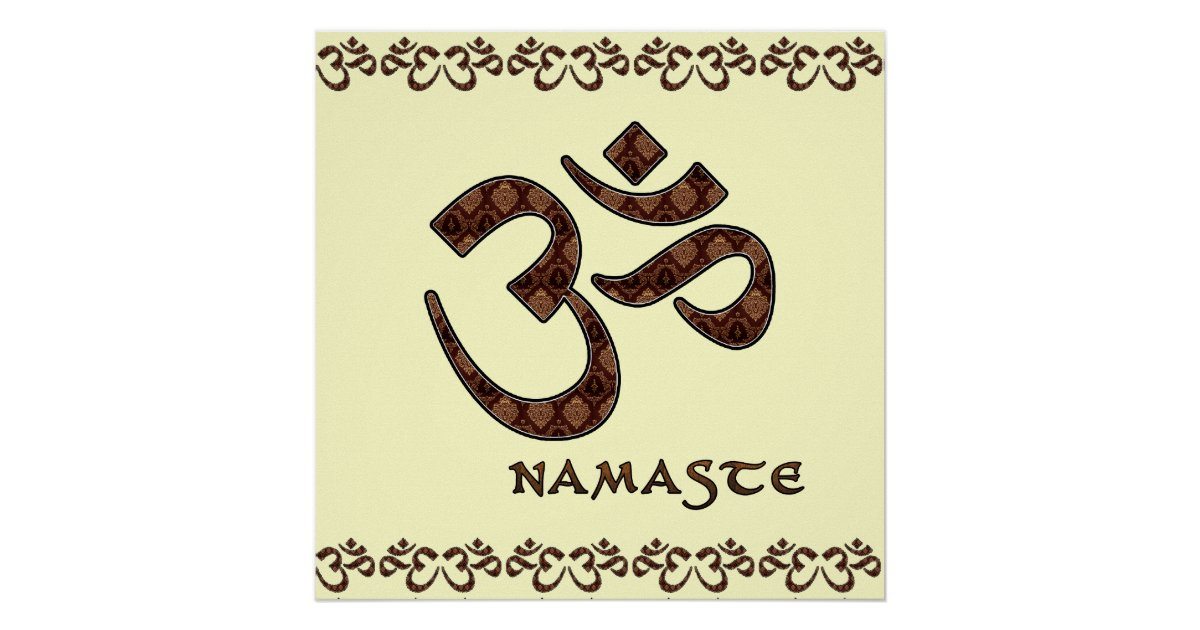 Namaste with Om Symbol Brown and Cream Poster | Zazzle