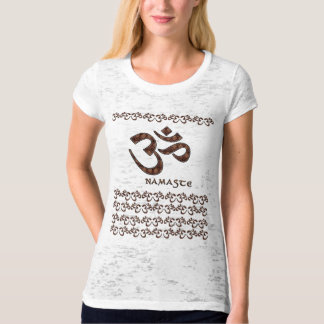 Namaste with Om Symbol Brown and Cream T Shirt