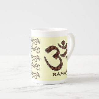 Namaste with Om Symbol Brown and Cream Tea Cup