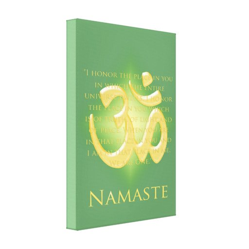 Namaste with Om symbol Stretched Canvas Print
