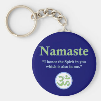 Namaste - with quote and Om symbol Basic Round Button Keychain