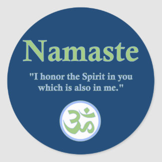 Namaste - with quote and Om symbol Classic Round Sticker