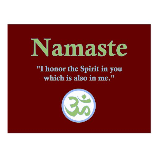 Namaste - with quote and Om symbol Post Cards