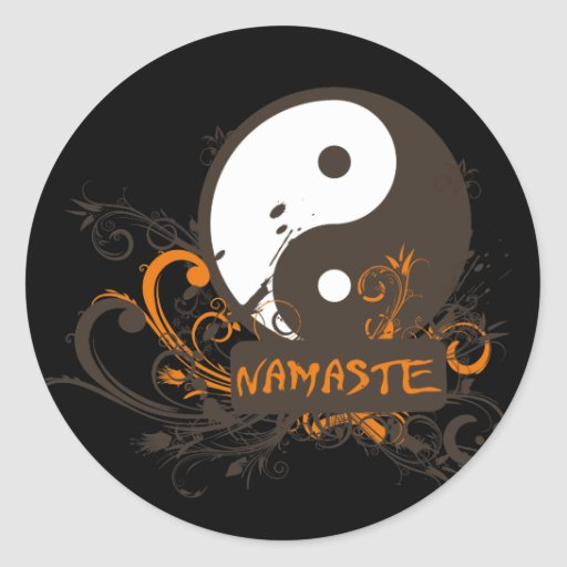 Namaste Yin Yang Classic Round Sticker