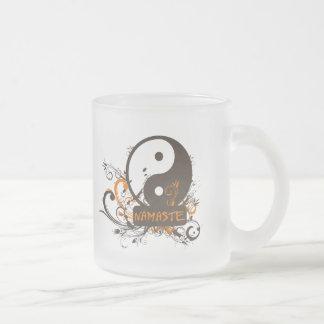 Namaste Yin Yang Frosted Glass Coffee Mug