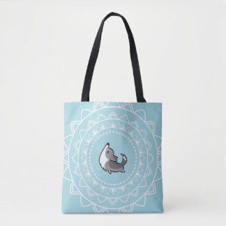Namaste Yoga Blue Merle Corgi Tote Bag