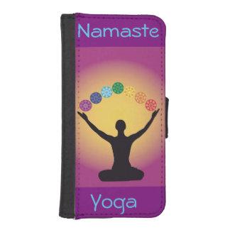 namaste, yoga, chakra, yogui, curando, curador, funda billetera para teléfono