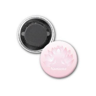Namaste Yoga Lotus Pose Flower Pink 1 Inch Round Magnet