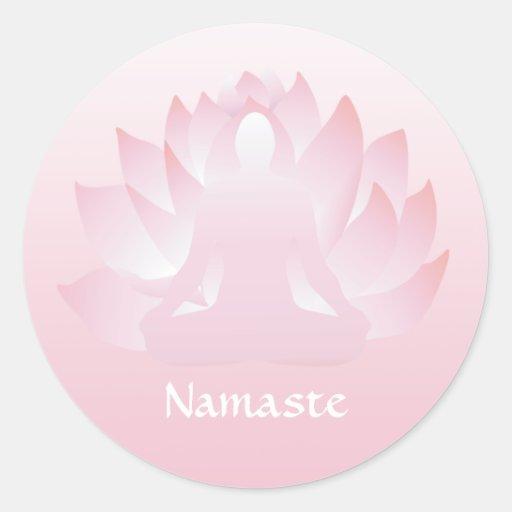 Namaste Yoga Lotus Pose Flower Pink Sticker
