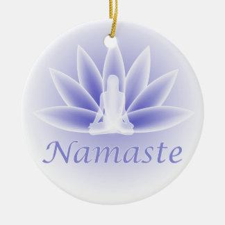 Namaste Yoga Lotus Woman Flower Blue Ornament