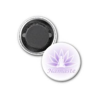 Namaste Yoga Lotus Woman Flower Violet 1 Inch Round Magnet
