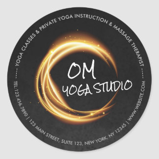 Namaste Yoga Meditation Instructor Black Gold ZEN Classic Round Sticker