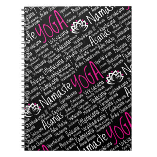 Namaste Yoga Pink Black Asanas Positions Note Book