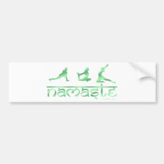 Namaste yoga poses green bumper stickers