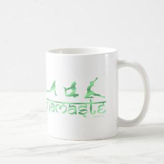 Namaste yoga poses green coffee mug
