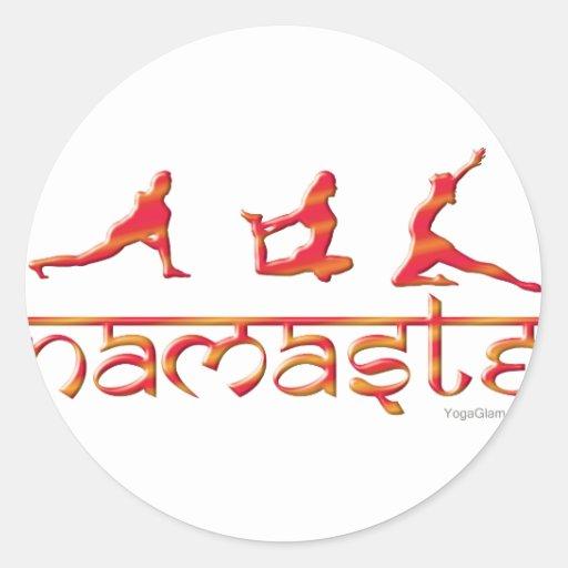 Namaste yoga poses orange classic round sticker