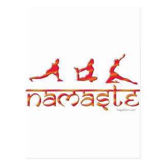 Namaste yoga poses orange postcard